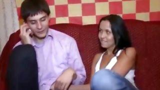 Sweet girlfriend sitting on this dude's lap and is ready to have intercourse with him