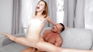 Athletic whore gets her shaved hole pounded hard