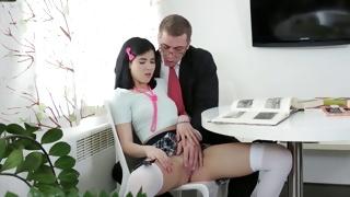 Hot chick in her miniskirt on sex videos slammed deep inside