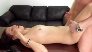 Filthy gent is hustling the sexy floozy all the while pounding her tight flesh