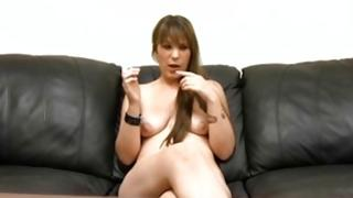 Brunette ambrosial bitch is sliding her lips on the sinewy massive knob