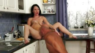 Sassy babe on top of a bald dude's huge rough dick