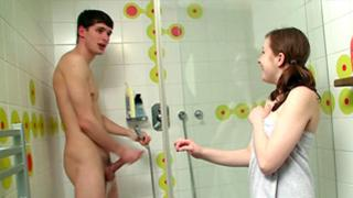 Dirty strumpet about to have a hot fuck with this gent in the shower