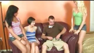 Lucky mister about to be pleased by three shameless sluts