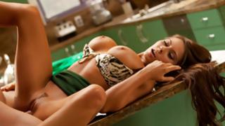 Superb brown-haired maiden lying on the table got her beaver messed up