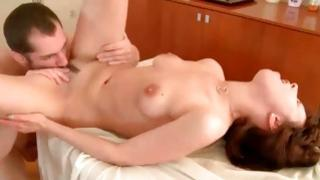 Brown-haired bitchy babe is moaning loudly while is fucked coarse