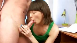 Aroused mister is sucking on this babes coarse nipples messy and perky