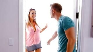 Passionately sweet bitch is smiling before gorgeous dude