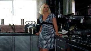 Watch on insanely hot young blondie staying on the kitchen