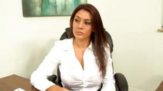 Filthy woman looks busy while posing in the classroom