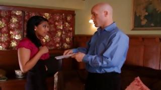 Arousing man giving money for exotic ebony slut