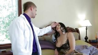 Doctor came to try the temperature of sluttish girl