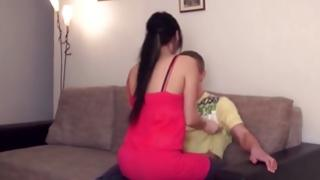 Couple kissing while he touching babe