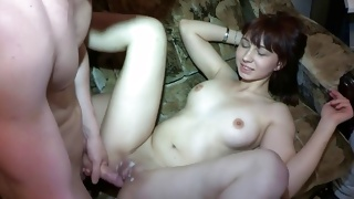Round tittied insanely hot babe groaning while cummed on cunt