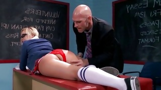 Blonde slut is going to lick the yummy long pecker