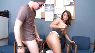 Curly vulgar bitch is squatting while cock swallowing