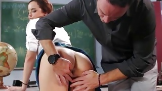 Teen horny girl is seductively licking the meaty prick
