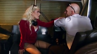Bitchy girl is pressing the breasts while guy sucking them