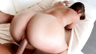 Kinky naked babe is riding this stone hard cock
