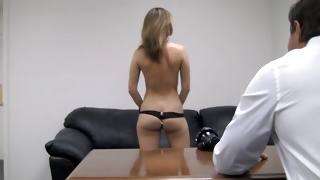 Dirty chick lying on a huge bed getting slammed